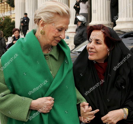 Stock Picture of Princess Shaikha Sabika Bint Ibrahim Al Khalifa (r) Wife of the King of Bahrain and Chairwoman of the Supreme Council For Women and Mrs Boutros-boutros Ghali (l) Exit the Zappeion Mansion After the Round Table of Business Community Against the Trafficking of Human Beings in Athens Monday 23 January 2006 Greece Athens