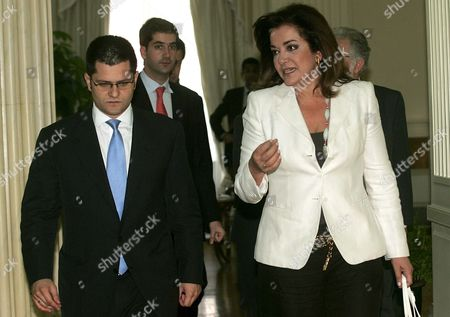 Stock Photo of Greek Foreign Minister Dora Bakoyianni (r) Talks with Her Serbian Counterpart Vuk Jeremic (l) Prior Their Meeting in Athens on 19 June 2007 Vuk Jeremic is in Athens on a Four Days Official Visit Greece Athens