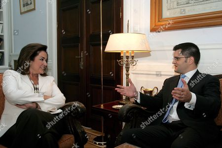 Greek Foreign Minister Dora Bakoyianni (r) Talks with Her Serbian Counterpart Vuk Jeremic (l) Prior Their Meeting in Athens on 19 June 2007 Vuk Jeremic is in Athens on a Four Days Official Visit Greece Athens
