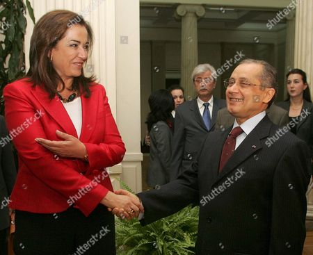 Greek Foreign Minister Dora Bakoyianni (l) Welcomes Her Tunisian Counterpart Abdelwaheb Abdallah (r) Prior Their Meeting in Athens Greece 02 May 2007 Greece Athens