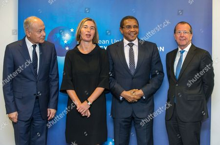 (L-R) Secretary General of the League of Arab States Ahmed Aboul Gheit, European Union (EU) High Representative for foreign policy Federica Mogherini, African Union (AU) High Representative for Libya Jakaya Kikwete and UN Special Representative for Libya Martin Kobler stand for a group photograph ahead of a meeting at the European Union External Action (EEAS) building in Brussels, Belgium, 23 May 2017. The group will discuss solutions to the Mediterranean refugee crisis and political tensions and security in Libya.