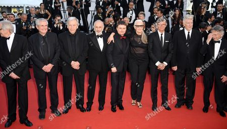 Stock Image of Ken Loach, Claude Lelouch, Costa-Gavras, Jerry Schatzberg, Roman Polanski, Cristian Mungiu, Jane Campion, Bille August, David Lynch, Nanni Moretti