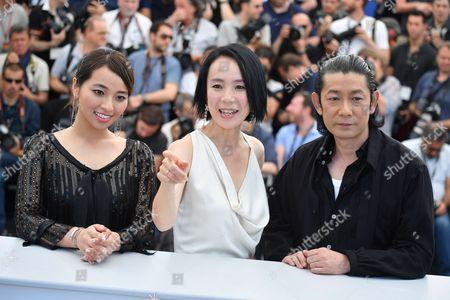 Actress Ayame Misaki, director Naomi Kawase and actor Masatoshi Nagase