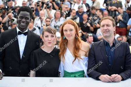 Stock Picture of Souleymane Seye Ndiaye, director and Leonor Serraille actress Laetitia Dosch and actor Gregoire Monsaingeon