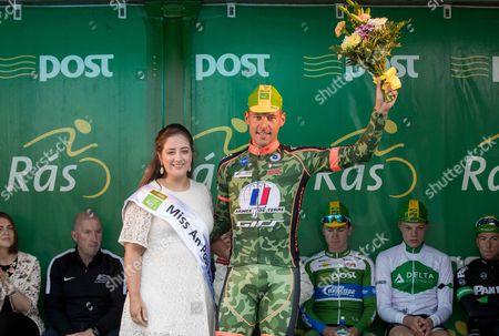 2017 An Post Ras Stage 3, Newport to Bundoran 23/5/2017. 3rd on the stage winner, Stephane Poulhies (France ArmÃee de Terre) with Miss An Post Ras Bundoran Mary Lenehan