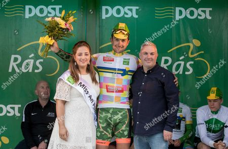2017 An Post Ras Stage 3, Newport to Bundoran 23/5/2017. 2nd in the King of the Mountains - One4All jersey winner Thomas France ArmÃee de Terre) with Miss An Post Ras Bundoran Mary Lenehan and Shane Smith (Stage Organiser)
