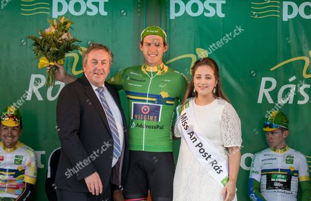 2017 An Post Ras Stage 2, Longford To Newport 22/5/2017. Points Leader - An Post, Christopher Latham (Britain Team Wiggins) with Miss An Post Ras Bundoran Mary Lenehan and Peter Gillespie, Retail Operations Manager