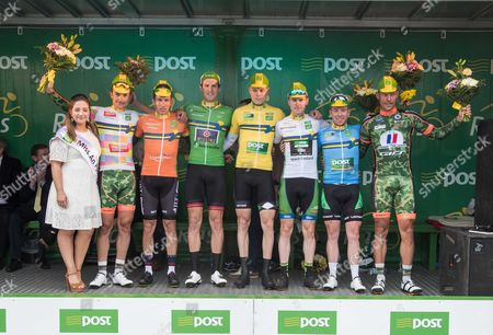 2017 An Post Ras Stage 3, Newport to Bundoran 23/5/2017. Miss An Post Ras Bundoran Mary Lenehan, 2nd in the King of the Mountains - One4All jersey winner Thomas France ArmÃee de Terre) 2nd on the stage winner, Ian Bibby (Britain JLT Condor), Points Leader - An Post, Christopher Latham (Britain Team Wiggins), Parcel Yellow jersey holder Denis Bakker, U23 - Sport Ireland Jersey winner, Matthew Teggart (Ireland An Post Chain Reaction), Post Insurance - County Jersey winner, Philip Lavery (Tipperary Panduit) and 3rd on the stage winner, Stephane Poulhies (France ArmÃee de Terre)