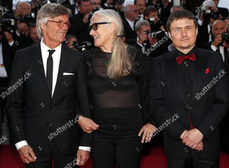 Romanian director Cristian Mungiu (R), Australian director Jane Campion and director Bille August arrives for the 70th Anniversary ceremony during the 70th annual Cannes Film Festival, in Cannes, France, 23 May 2017. The festival runs from 17 to 28 May.