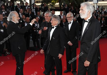 (l-R) US director Jerry Schatzberg, French director Claude Lelouch, Polish-French director Roman Polanski, Britsh director Ken Loach and Austrian director Michael Haneke arrive for the 70th Anniversary ceremony during the 70th annual Cannes Film Festival, in Cannes, France, 23 May 2017. The festival runs from 17 to 28 May.