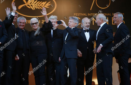 Bille August, Claude Lelouch, Jane Campion, David Lynch, Roman Polanski, Jerry Schatzberg, Mohammed Lakhdar-Hamina, Laurent Cantet Previous former Palme d'or winners from left, Bille August, Claude Lelouch, Jane Campion, David Lynch, Roman Polanski, Jerry Schatzberg, Mohammed Lakhdar-Hamina and Laurent Cantet pose for photographers upon arrival at the 70th anniversary of the film festival, Cannes, southern France