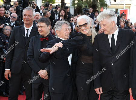 Laurent Cantet, Cristian Mungiu, Roman Polanski, Jane Campion, David Lynch Previous former Palme d'or winners from left, Laurent Cantet, Cristian Mungiu, Roman Polanski, Jane Campion and David Lynch pose for photographers upon arrival at the 70th anniversary of the film festival, Cannes, southern France