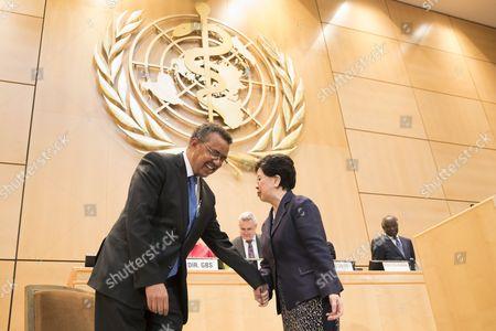 Tedros Adhanom and Margaret Chan