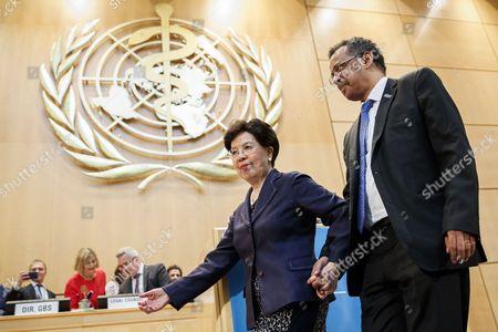 Tedros Adhanom Ghebreyesus and Margaret Chan,