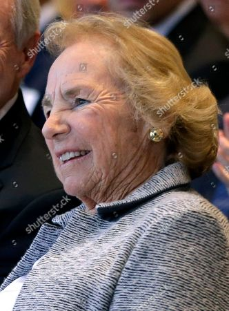 Ethel Kennedy, widow of Robert F. Kennedy, listens during a ceremony to name the Robert Kennedy Navy Ship at the John F. Kennedy Presidential Library, in Boston. The ship's job will be to restock and refuel other ships already at sea. Ships in this class are being named in honor of civil rights and human rights heroes