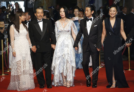 (L-R) Japanese actress Ayame Misaki, Japanese actor Tatsuya Fuji, Japanese director Naomi Kawase, Japanese actor Masatoshi Nagase and Japanese actress Missuzu Kanno arrive for the screening of 'Hikari' (Radiance) during the 70th annual Cannes Film Festival, in Cannes, France, 23 May 2017. The movie is presented in the Official Competition of the festival which runs from 17 to 28 May.