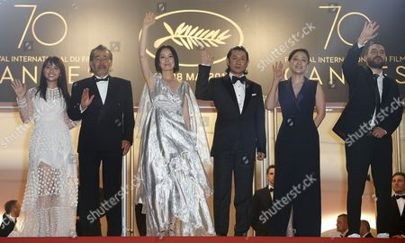 (L-R) Japanese actress Ayame Misaki, Japanese actor Tatsuya Fuji, Japanese director Naomi Kawase, Japanese actor Masatoshi Nagase, Japanese actress Missuzu Kanno and  French musician Ibrahim Maalouf arrive for the screening of 'Hikari' (Radiance) during the 70th annual Cannes Film Festival, in Cannes, France, 23 May 2017. The movie is presented in the Official Competition of the festival which runs from 17 to 28 May.