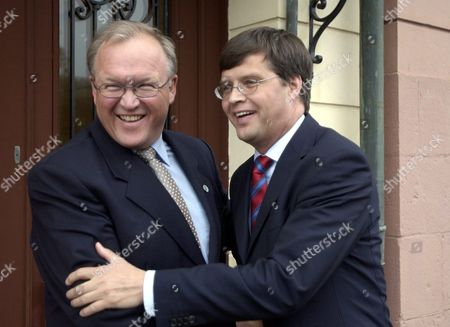 Swedish Prime Minister Goran Persson Meets Netherland's Prime Minister Jan Pieter Balkenende For a General Meeting in Stockholm Monday 03 May 2004 Sweden Stockholm