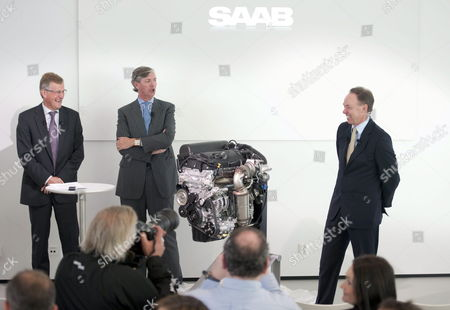 Stock Photo of Jan-ake Jonsson Ceo of Saab Automobile Victor Muller Ceo of Spyker Cars Nv and Bmw Sales Manager Ian Robertson (l-r) Pose at a Press Conference in Trollhattan Sweden 29 September 2010 Muller Said Saab Have Signed a Deal with German Automaker Bmw Ag on 29 September to Supply Its Cars with Bmw Engines in Future Models Sweden Trollhattan