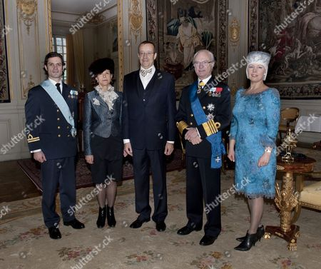 From L-r Sweden's Prince Carl Philip Sweden's Queen Silvia Estonian President Toomas Henrik Ilves Sweden's King Carl Gustaf and Evelin Ilves Pose For Photographs at the Royal Palace in Stockholm 18 January 2011 President Ilves is on a Three-day Official State Visit in Sweden Sweden Stockholm