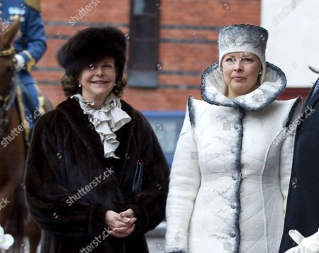 Estonian President Wife Evelin Ilves (r) and Queen Silvia Posing For Photographer at the Royal Stables in Stockholm Sweden 18 January 2011 President Ilves and His Wife Are on a Three Day Official Visit to Sweden Sweden Stockholm