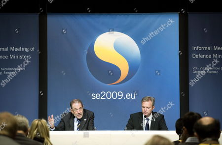 European Union Foreign Policy Chief Javier Solana (l) and Swedish Defence Minister Sten Tolgfors (r) at a News Conference During an Informal Eu Defence Minister Meeting in Goteborg Sweden on 29 September 2009 Sweden Goteborg