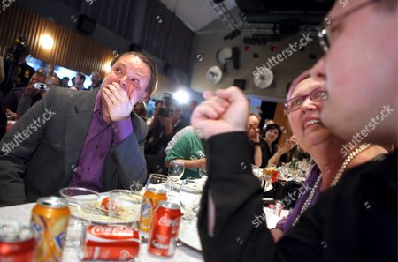 Rick Falkvinge (l) Party Leader of the Pirate Party Which Advocates Shortening the Duration of Copyright Protection Reacts Watching the Preliminary Results of the Swedish Votes in the European Parliament Election in Stockholm Sweden 07 June 2009 the Party Preliminarily Were Predicted to Get 7 4 Percent of the Vote Sweden Stockholm