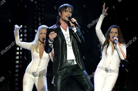 Martin Stenmarck During His Performance with Which He Won the Final Qualification Round of 'Melodifestivalen 2005' at the Stockholm Globe Arena March 12 2005 to Represent Sweden with the Song 'Las Vegas' at the Eurovision Song Contest 2005 in Kiev Sweden Stockholm