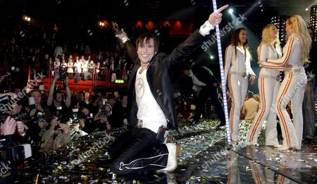 Martin Stenmarck During His Performance For Which He Won the Final Qualification Round of 'Melodifestivalen 2005' at the Stockholm Globe Arena March 12 2005 to Represent Sweden with the Song 'Las Vegas' at the Eurovision Song Contest 2005 in Kiev Sweden Stockholm