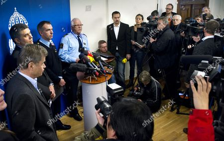 (l_r) Chief Prosecutor Thomas Linstrand Head of Sapo's Security Department Anders Thornberg Commanding Chief Erik Widstrand and Police Spokesman Ulf Goranzon at the Stockholm Police Press Conference Held at the Police Headquarters in Stockholm 12 December 2010 One Person Has Been Killed and Two Others Hurt by Two Blasts in the Centre of the Swedish Capital Stockholm Amid Reports of a Bomb Attack a Car Blew Up Near the Busy Shopping Street of Drottninggatan December 11 and Another Blast Followed Nearby Minutes Later Swedish Press Reported That the Second Blast was a Suicide Bomber But Police Said No Cause Had Yet Been Determined Sweden Stockholm