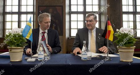 Swedish Minister of Defense Sten Tolgfors (l) and His German Counterpart Franz Josef Jung (r) Signing a Bilateral Research Development Production and Acquisition Memorandum of Understanding in the Defense Area at the Karlberg Castle in Stockholm Sweden April 28 2009 Sweden Stockholm