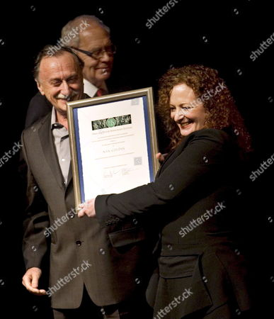 Us Photographer Nan Goldin (r) Receives the 2007 Hasselblad Award in International Photography From Ukrainian Photgrapher Boris Mikhailov (l) and the Chairman of Hasselblad Foundation Goran Bengtsson (c) at the Gotebog City Theatre in Gothenburg Sweden 10 November 2007 Boris Mikhailov was the Winner of Hasselblad Award in 2000 Sweden Goteborg