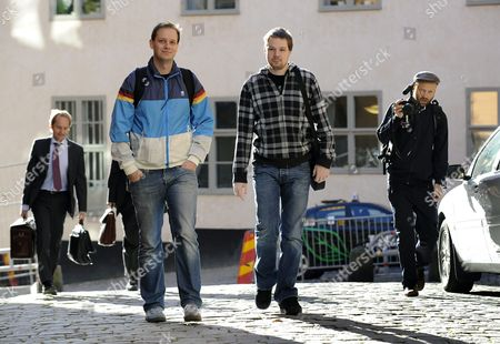Stock Image of Two Co-founders of the File-sharing Website the Pirate Bay Fredrik Neij (r) and Peter Sunde (l) Arrive September 28 2010 at the Swedish Appeal Court in Stockholm Four Pirate Bay Managers Are Appealing an April 17 One-year Jail Term and a 3 Million Euro Fine in Damages For the Film Record and Video Industry Sweden Stockholm