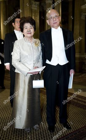 Yoko and Akira Suzuki Laureate in Chemistry Arrive at the King's Dinner For the Nobel Laureates at the Royal Palace in Stockholm Sweden 11 December 2010 Sweden Stockholm