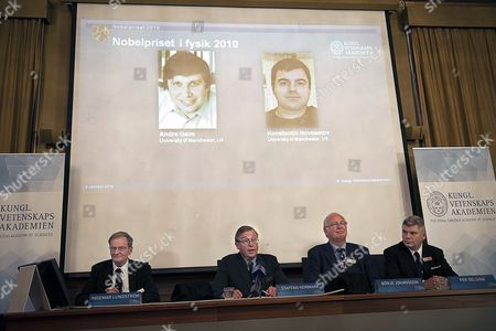 An Image Showing the Royal Swedish Academy of Sciences Announcint That Russian-born Scientists Andre Geim (on Screen L) and Konstantin Novoselov (on Screen R) Share the Nobel Prize in Physics 05 October 2010 For 'Groundbreaking Experiments' with a New Material Expected to Play a Large Role in Electronics the Royal Swedish Academy of Sciences Cited Geim and Novoselov who Are Both Linked to Universities in Britain For Experiments with Graphene a Flake of Carbon That is Only One Atom Thick Sweden Stockholm