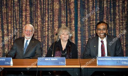 Nobel Chemistry Prize Laureates Attend a Press Conference at the Royal Academy of Sciences in Stockholm Sweden on 07 December 2009 (l-r) Us Thomas a Steitz Yale University New Haven Ct Usa; Howard Hughes Medical Institute; Israeli Ada E Yonath Weizmann Institute of Science Rehovot Israel; British Venkatraman Ramakrishnan Mrc Laboratory of Molecular Biology Cambridge United Kingdom the 2009 Nobel Prizes Will Be Handed Over to the Laureates by the Swedish King on 10 December 2009 Sweden Stockholm