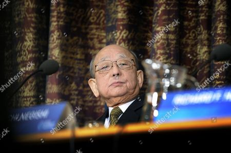 Nobel Chemistry Laureate Akira Suzuki Attends a Press Conference at the Royal Swedish Academy of Sciences in Stockholm Sweden on 07 December 2010 in Stockholm the Nobel Prizes Will Be Traditionally Awarded on 10th of December Sweden Stockholm