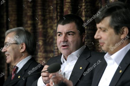 (l-r) Nobel Economy Laureate Christopher a Pissarides Chemistry Laureates Andre Geim and Konstantin Novoselo Attend a Press Conference at the Royal Swedish Academy of Sciences in Stockholm Sweden on 07 December 2010 in Stockholm the Nobel Prizes Will Be Traditionally Awarded on 10th of December Sweden Stockholm