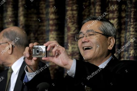 Nobel Laureate in Chemistry Ei-ichi Negishi of Japan Smiles As He Take a Picture During a Press Conference at the Royal Swedish Academy of Sciences in Stockholm Sweden on 07 December 2010 in Stockholm the Nobel Prizes Will Be Traditionally Awarded on 10th of December Sweden Stockholm