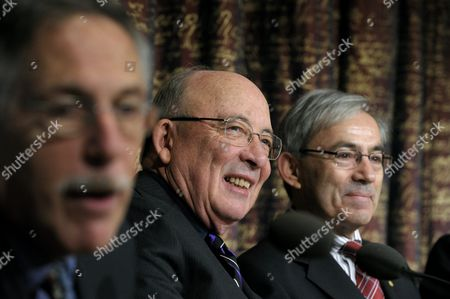 Stock Picture of (l-r) Nobel Economy Laureates Peter a Diamond Dale T Mortensen and Christopher a Pissarides Speaks During a Press Conference at the Royal Swedish Academy of Sciences in Stockholm Sweden on 07 December 2010 in Stockholm the Nobel Prizes Will Be Traditionally Awarded on 10the of December Sweden Stockholm