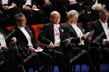 From (l-r) Japanese Ei-ichi Nigishi Professor of Purdue University in West Lafayette in Usa; Japanese Akira Suzuki Professor at Hokkaido University in Sapporo Japan; Literature Laureate Peruvian Mario Vargas Llosa and Economics Laureate and Us Peter a Diamond Professor Affiliated to the Massachusetts Institute of Technology (mit) Cambridge Ma Usa Sit During the Prize Giving Ceremony at the Concert Hall in Stockholm Sweden 10 December 2010 Sweden Stockholm
