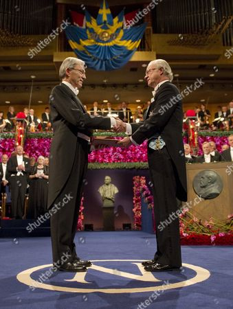 Stock Photo of Christopher a Pissarides (l) Receives the Shared Nobel Prize in Economic Sciences From Swedish King Carl Xvi Gustaf (r) at the Concert Hall in Stockholm Sweden 10 December 2010 Professor Pissarides is a Cypriot and British Citizen Affiliated to the London School of Economics and Political Science United Kingdom Americans Peter Diamond and Dale Mortensen and Christopher Pissarides a British and Cypriot Citizen Won the 2010 Nobel Economics Prize For Developing Theories That Help Explain How Economic Policies Can Affect Unemployment Sweden Stockholm