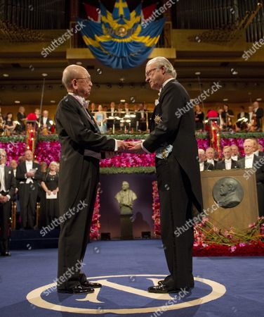 Japanese Akira Suzuki (l) Receives the Shared Nobel Prize in Chemistry From Swedish King Carl Xvi Gustaf (r) at the Concert Hall in Stockholm Sweden 10 December 2010 Japanese Professor Suzukii is Affiliated to Hokkaido University Sapporo Japan Sweden Stockholm