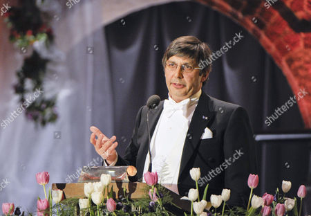 Nobel Physics Laureate Andre Geim Talks at the Nobel Banquet in the Stockholm City Hall Sweden 10 December 2010 Professor Geim is Affiliated to the University of Manchester United Kingdom; He is a Dutch Citizen Born in Russia Sweden Stockholm