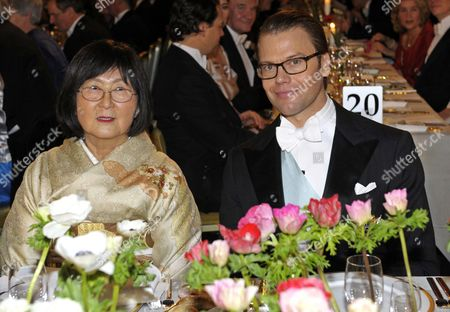 Sumire Negishi (l) Sits Together with Swedish Prince Daniel at the Honorary Table During the Nobel Banquet in the Stockholm Town Hall Sweden 10 December 2010 Sumire Negishi is Married to Nobel Chemistry Laureate Ei-ichi Negishi From Japan Sweden Stockholm