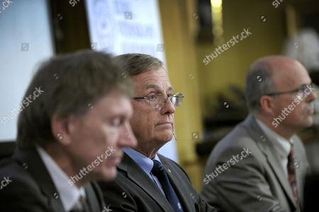 (l-r) Professor Bertil Holmlund; Permanent Secretary of the Royal Academy of Sciences Staffan Normark and Professor Per Krusell Announce That the Nobel Prize in Economic Sciences 2010 is Awarded Jointly to Us Researchers Peter a Diamond and Dale T Mortensen and British-cypriot Citizen Christopher a Pissarides in Stockholm Sweden 11 October 2010 the Trio Were Awarded the Prize For Their 'Analysis of Markets with Search Frictions ' in Relation to the Labour Market Sweden Stockholm