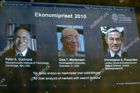 The Royal Academy of Sciences Announces 11 October 2010 in Stockholm Sweden That the Nobel Prize in Economic Sciences 2010 is Awarded Jointly to (portraits on Overhead Screen From Left) Us Researchers Peter a Diamond and Dale T Mortensen and British-cypriot Citizen Christopher a Pissarides the Trio Were Awarded the Prize For Their 'Analysis of Markets with Search Frictions ' in Relation to the Labour Market Sweden Stockholm