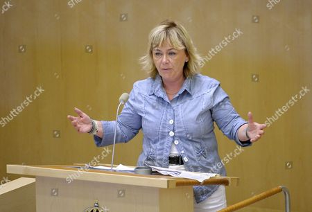 Beatrice Ask Swedish Minister of Justice Holds a Speech During a Parliament Debate in Stockholm Sweden 28 June 2011 the Parliamentary Summit Focussed on the Topic of Boarder Controls Within the European Countries Sweden Stockholm