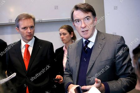 Eu Commissioner For External Trade Peter Mandelson (r) Together with Swedish Trade Minister Sten Tolgfors Left at the Stockholm School of Economics in Stockholm Sweden Thursday 08 February 2007 They Spoke About Global Europe and the External Dimension of the Lisbon Strategy Sweden Stockholm