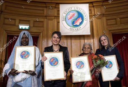 The Right Livelihood Award Winners (l-r) Somali Asha Hagi Italian Citizen Monika Hauser Indian Krishnamall Jagannathan and U S Amy Goodman with Their Diplomas After Receiving Their Awards in the Parliament Building in Stockholm Sweden on 08 December 2008 the Award Also is Known As the Alternative Nobel Prize Sweden Stockholm